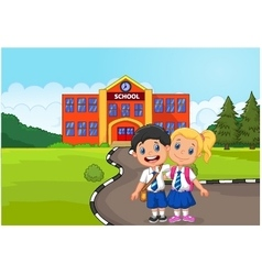 Two happy students standing in front of school bui vector image