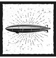 Vintage airship background Retro Dirigible vector image