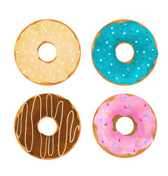 Watercolor donuts set vector