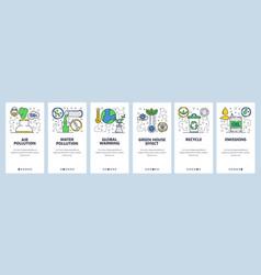 Web site onboarding screens global warming vector