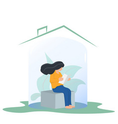 Woman sitting in glass cap self-isolation during vector