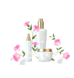 Women care cosmetic in beautiful bottles over vector