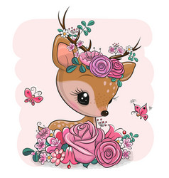 Woodland deer with flowers and butterflies on a vector