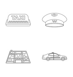 Yellow taxi inscription a cap with a taxi badge vector