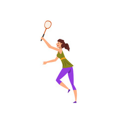 young woman playing tennis or badminton active vector image
