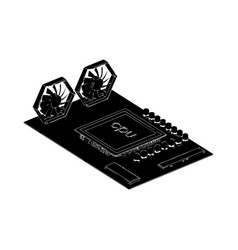 black motherboard on white vector image