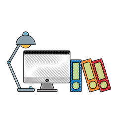 computer and desk lamp icon vector image