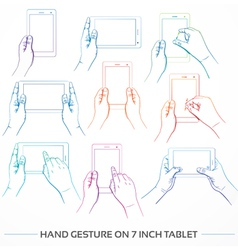 Hand Holding 7inch Tablet Set vector image vector image