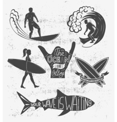 Set of surfing vintage design elements surf logo vector