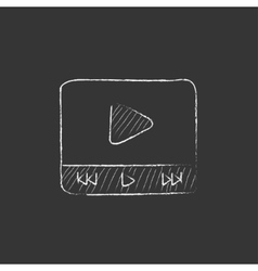 Video player Drawn in chalk icon vector image vector image