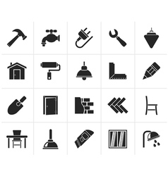 Black Building and home renovation icons vector image vector image