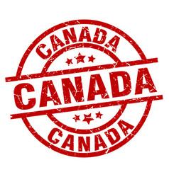 Canada red round grunge stamp vector