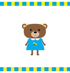 Cartoon bear girl card vector image