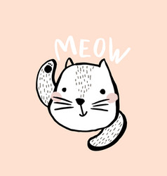 cute cat with text meow hand drawn vector image vector image