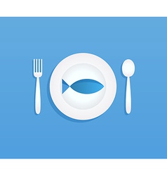 Fish on plate vector image vector image