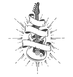 Hand drawn electric guitar with ribbon and text vector image vector image