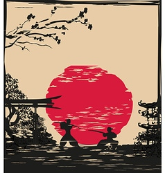 Japanese Samurai fighter card vector image vector image