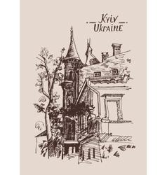 original sketch drawing of historical building vector image