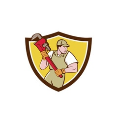 Plumber Holding Pipe Wrench Crest Cartoon vector image vector image