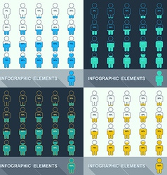 Set segmented charts in the form of people vector image vector image