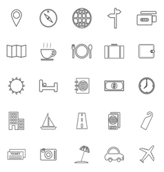 Travel line icons on white background vector image