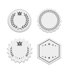 white paper labels with wreaths and crowns vector image