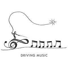 a whimsical cartoon called driving music vector image