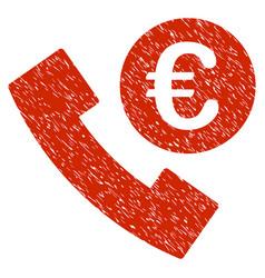 euro phone order icon grunge watermark vector image