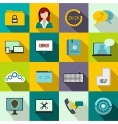 Support call center icons set flat style vector image vector image