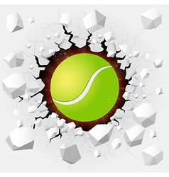 Tennis ball with cracked background vector image