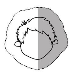 contour sticker face boy icon vector image