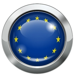 European union flag metal button vector image vector image