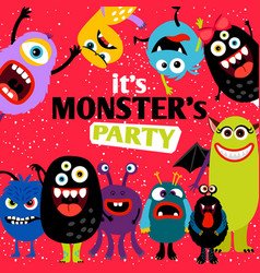 it is monster party banner vector image