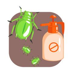 orange sprayer bottle of green longhorn beetle vector image vector image