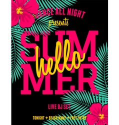 Summer party palm leaves and hibiscus flyer design vector