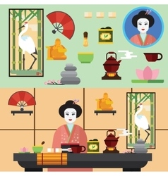 Tea ceremony and all the symbols of it vector image
