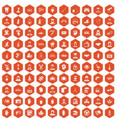 100 human resources icons hexagon orange vector