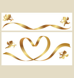a gold ribbon and cupids vector image