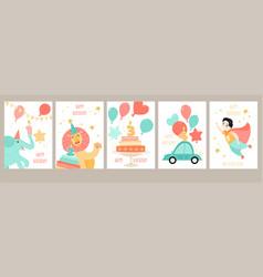 a set birthday cards for boys birthday vector image
