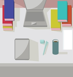 Abstract working place modern office interior flat vector