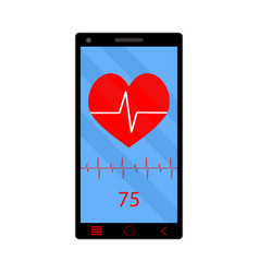 App heart rate monitor on phone vector