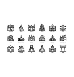 Asian cities landmarks icons set 1 vector