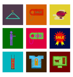 Assembly of flat shading style icon set gifts vector