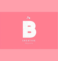 B pink white alphabet letter logo icon design vector