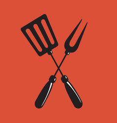 Barbecue spatula and fork sign vector