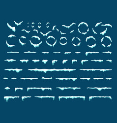Big set of snow icicles and snow cap isolated vector