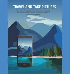 black smartphone with mountain landscape vector image
