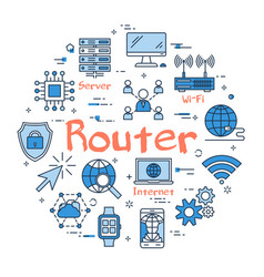 blue round router concept vector image