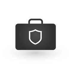 briefcase with security shield icon isolated vector image