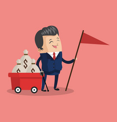 Businessman with money on cart vector